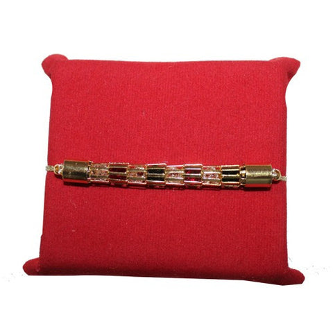 Gold Red & Green Stone Rakhi