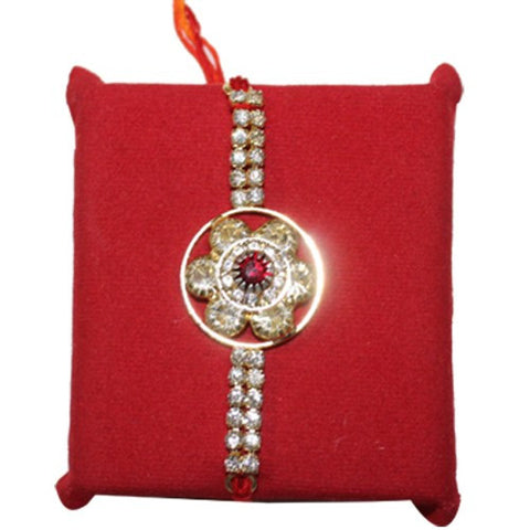 Circular Shaped Silver Stone Best Brother Rakhi