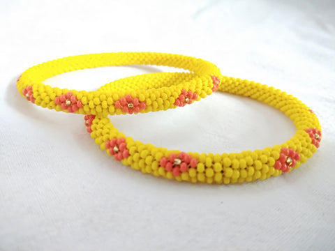 Bangles ( bead work) (yellow)