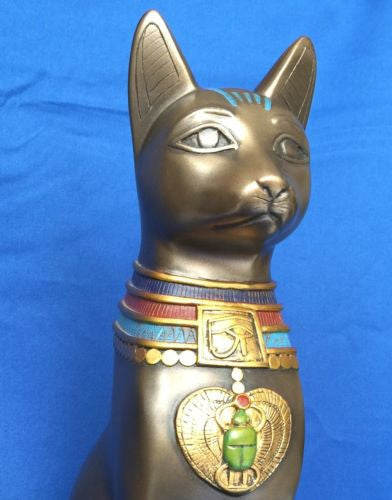 Egyptian Bastet With Colored Jewelry Egypt Statue