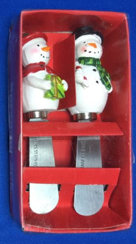 Stainless Steel 2 Snowman Christmas Spreaders