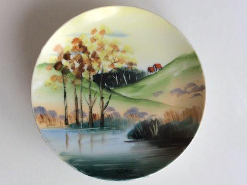 "Vintage Hitomi Hand Painted Country Setting Ceramic 6"" Plate"