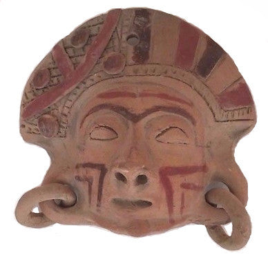 "Clay Face MASK Wall Hanging FOLK ART 7 3/4"" x 7 3/4"""