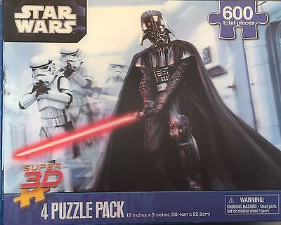 "STAR WARS Super 3D - 4 Puzzle Pack 12""X 9"" 600 PIECES"