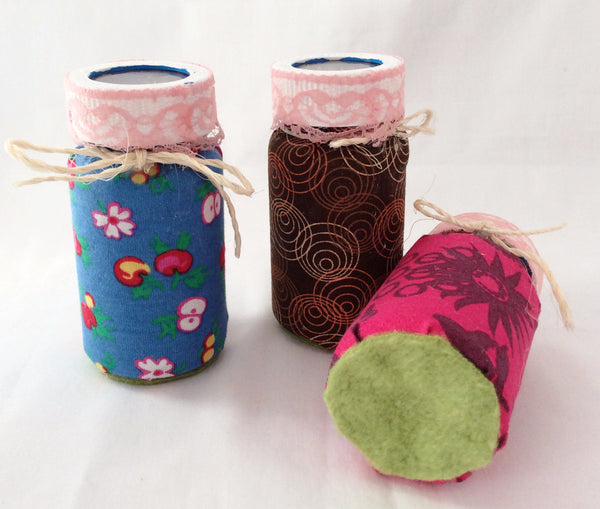 Purse, Backpack Organizer, Upcycled Pill Bottles, Hand wrapped in Fabric and Lace