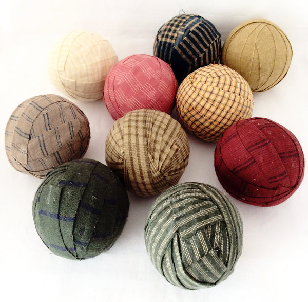 Primitive, Country Style, Homespun Fabric Balls, Set of 6