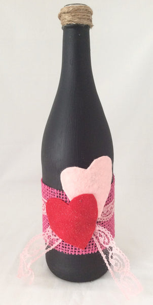 Valentine's Day, Wine Bottle Vase with Felt Hearts, Hand Painted with Black Chalk Paint