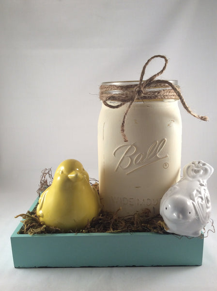 Mason Jar Spring Centerpiece Vase with Ceramic Birds Nesting, Distressed Finish