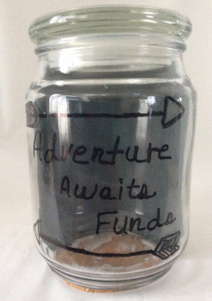 Adventure Travel Funds Jar, Adventure Awaits Funds,Vintage Map