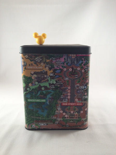 Disneyland Souvenir Map, Disneyland Tin Can, Yellow Mickey Keepsake Box