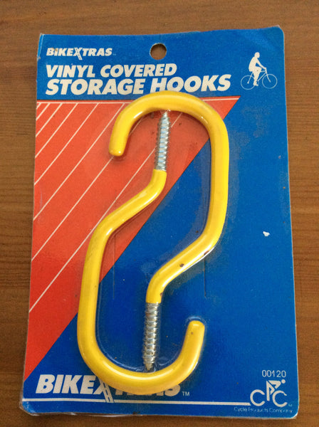 BikeXtras Vinyl Covered Storage Hooks, Set of 2 Yellow Hooks