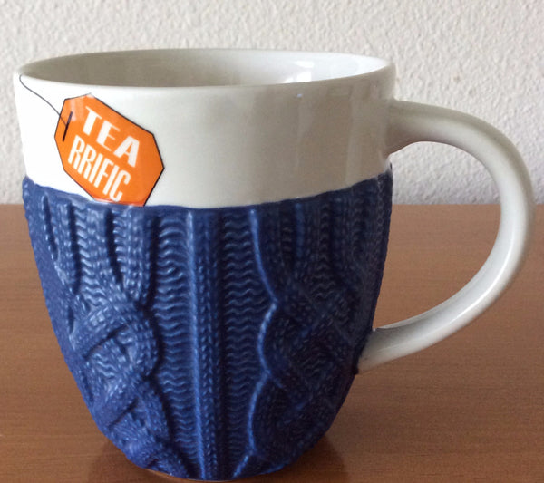 Ceramic Mug With Cable Knit Cup Warmer, White Mug, Navy Blue Cable Knit Warmer