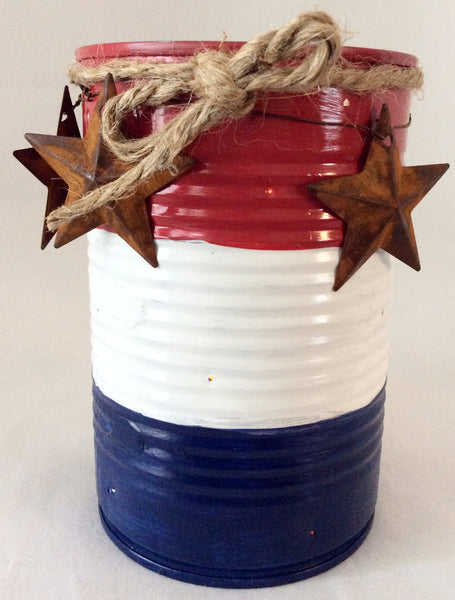 Tin Can Candle Holder, Americana Primitive Decor, Country Decor, Independence Celebration