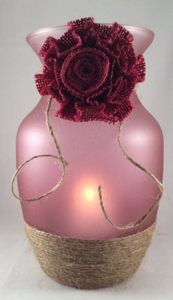 Glass Vase Candle Holder, Frosted Pink Vase with Jute and Burlap Bow