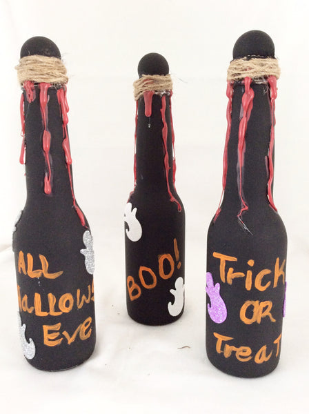 Halloween Decoration Bottles, Trick or Treat, Boo, Set of 3 Glass Bottles