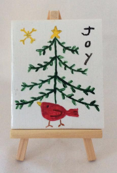 Decorative Tile Art, Primitive Christmas Tree, Country Home Christmas, Hand Painted