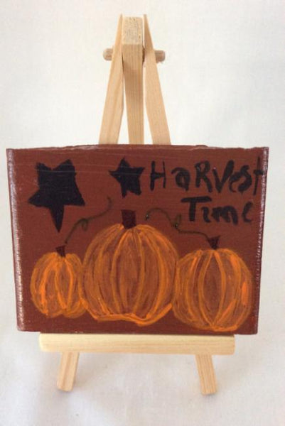 Hand Painted Decorative Tile, Harvest Time Pumpkins, Fall Decoration, Tile Art