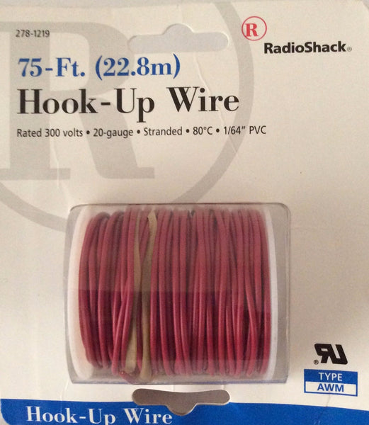 RadioShack 75-Ft. Hook-Up Wire, Type AWM, 20-Gauge, #278-1219