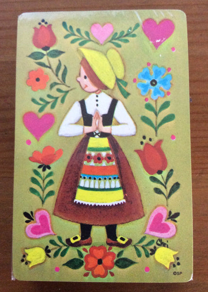 Vintage Stardust Pinochle Playing Cards, Swedish Children In Traditional Costume