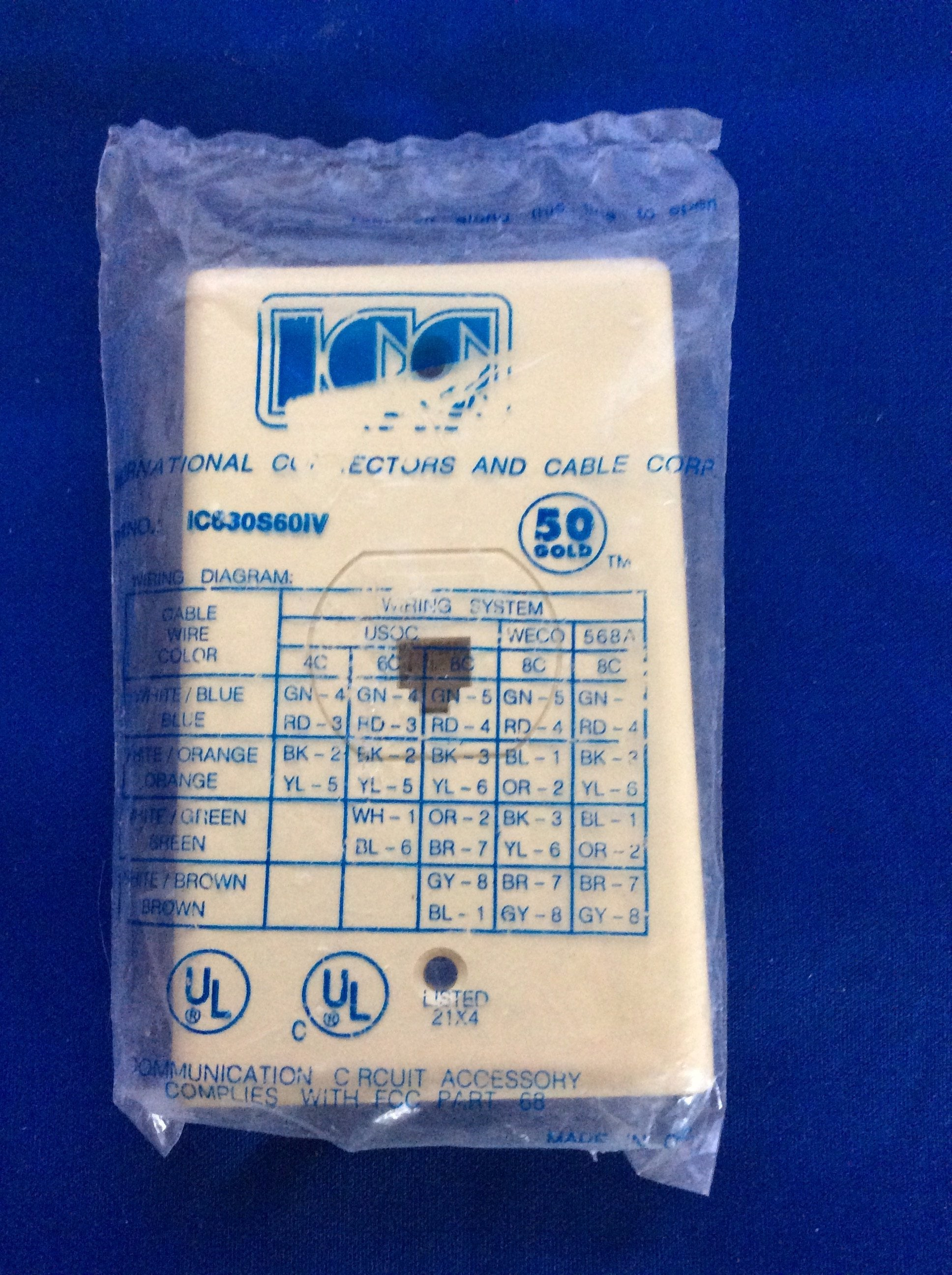 Icc Telephone Wall Plate 6 Wire Jack Ivory No Ic630s60iv Gemm Sales Usoc Cable Wiring Diagram
