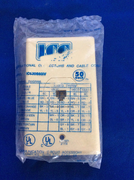 ICC Telephone Wall Plate, 6 Wire Jack, Ivory No. IC630S60IV