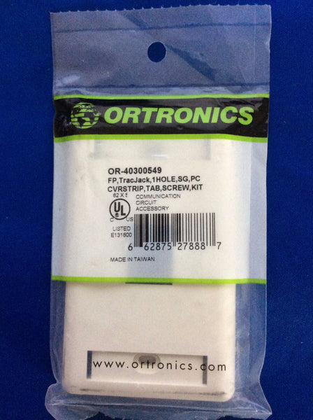 Ortronics OR-40300549 TracJack 1 Hole, Faceplate White