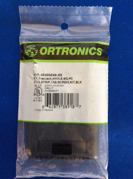 Ortronics OR-40300546-00 TracJack Plastic Faceplate 4-Port, Black