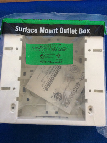 Ortronics OR-40300087, Surface Mount Outlet Box, One Piece, Fog White