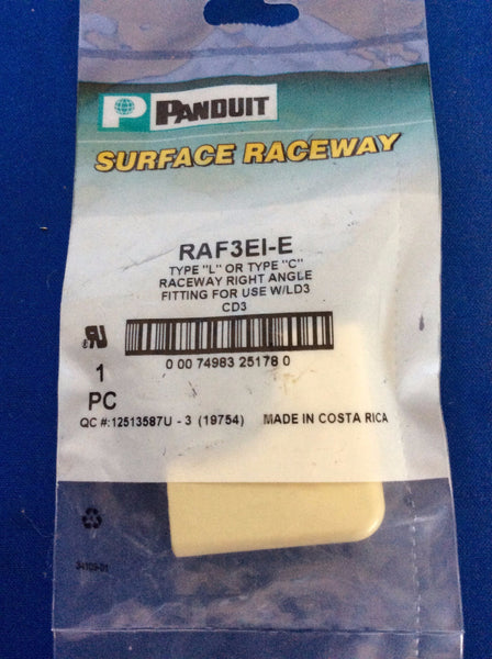 Panduit Surface Raceway, RAF3EI-E, Right Angle, Ivory