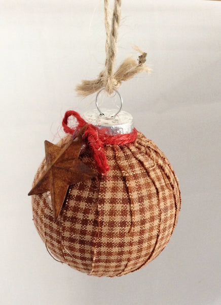 Handmade Christmas Ornaments Primitive Decor Set of 2