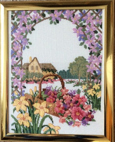 Cross Stitch Garden, Finished Cross Stitch Art, Finished Cross Stitch Piece