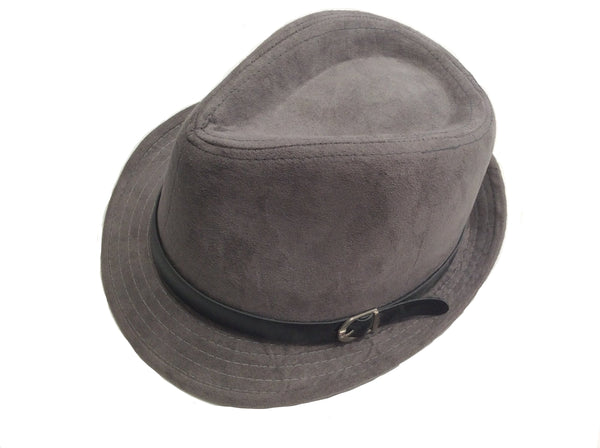 Authentic Ecuadorian Gray Suede Fedora Hat