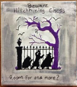 Hitchhiking Ghosts Embroidery Art Disney's Haunted Mansion Embroidery on Canvas
