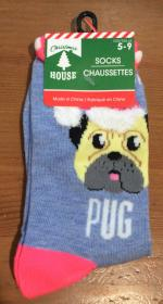 Christmas House Pug Socks Unisex
