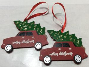 Christmas Ornament Red Car with Christmas Tree Set of 2