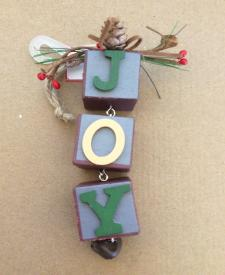 Holiday Time Wood Blocks Christmas Ornament