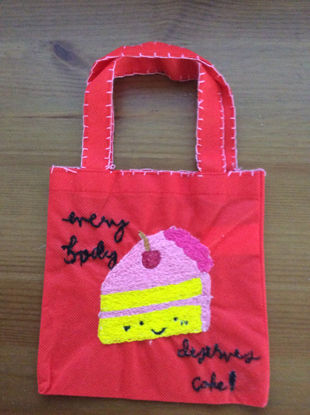 Hand Embroidered Treat Bags - Small Red
