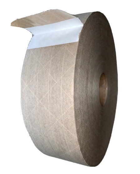 Water Activated Gummed Reinforced Packing Tape - Tan - 70mm x 1000Ft