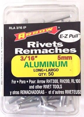 "Arrow Rivets Remaches 3/16"" 5mm Aluminum Long, Pack of 50"