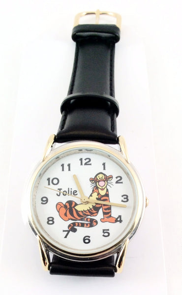 Authentic Disney Tigger Wrist Watch, Genuine Brown Leather Strap