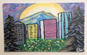Beautiful Canvas Painting of Skyline Portland, Oregon