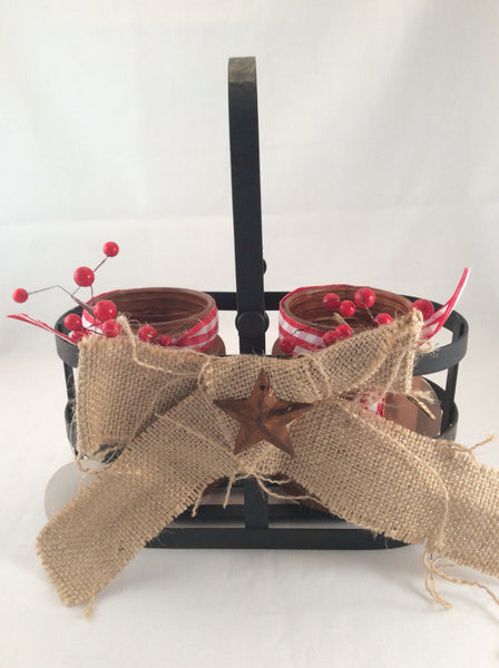 Christmas Candle Holders with Metal Basket