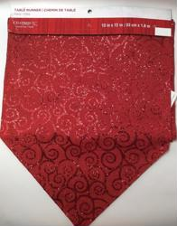 "Celebrate It Christmas Table Runner, 13"" x 72"", Glittery Red"