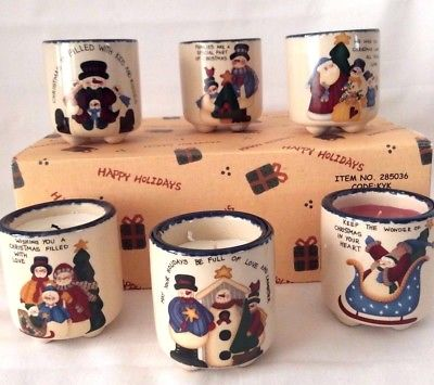 Christmas Candle Small Crock Set, Hand Painted Christmas Snowman, Set of 6
