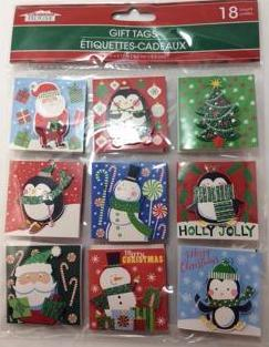 Christmas Gift Tags, Self-Adhesive, 3D Christmas Gift Tags, Set of 18