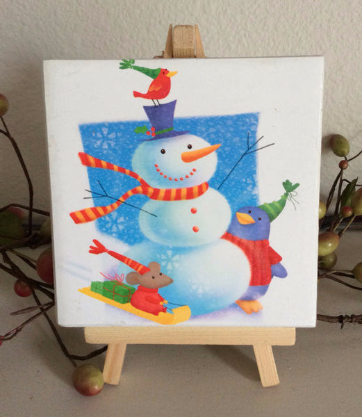 Christmas Snowman Tile Coaster Set
