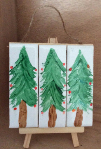 Hand Painted Tile - Christmas Trees