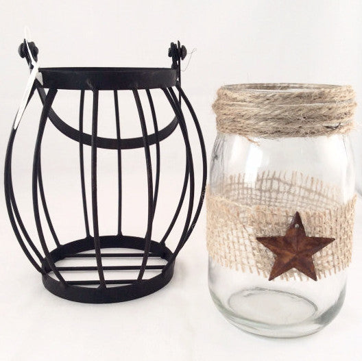 Country Jar with Metal Basket - Rusted Primitive Star