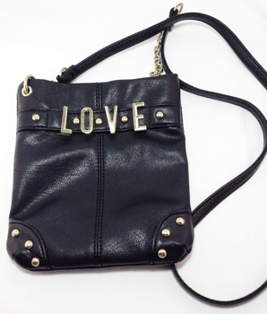 Crossbody Purse Black Purse with LOVE Gold Letters
