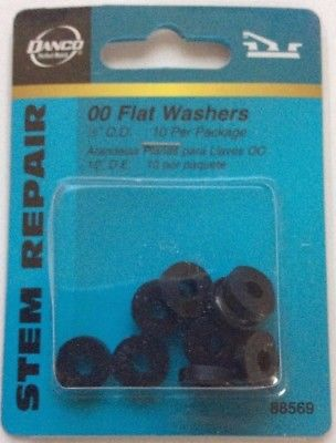 "Danco 00 Flat Washers, Stem Repair, 1/2"" O.D., Set of 10"